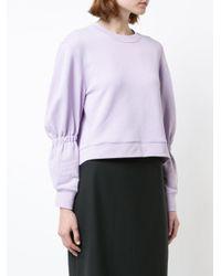 Tibi - Purple Cropped Crewneck Sweatshirt - Lyst