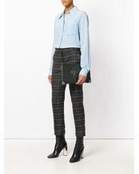 Armani Jeans - Black Logo Plaque Zip Clutch - Lyst