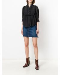 Zadig & Voltaire - Black Ruffle Bib Blouse - Lyst