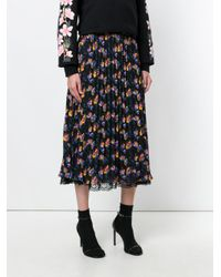 Essentiel Antwerp - Black Floral Pleated Skirt - Lyst