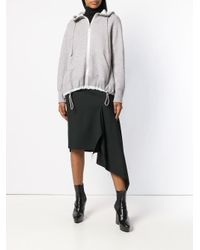 Sacai - Gray Hooded Zip Cardigan - Lyst