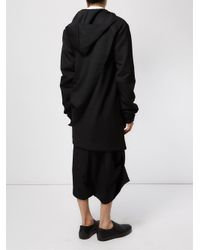 Moohong | Black Asymmetric Longline Hoodie for Men | Lyst