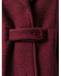Carven | Red Notched Lapels Belted Coat | Lyst