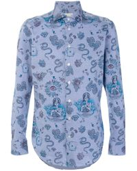 Etro - Blue Paisley Mixed Print Shirt for Men - Lyst