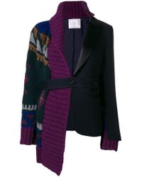Sacai - Blue Asymmetric Belted Jacket - Lyst