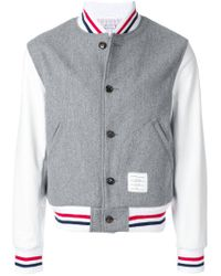 Thom Browne - Gray Button Front Melton Wool Varsity Jacket for Men - Lyst