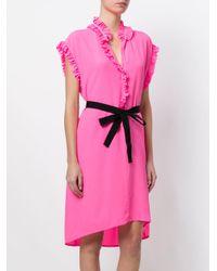 Nude - Pink Ruffled Trim Shirt Dress - Lyst
