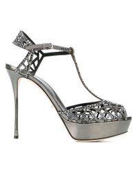 Sergio Rossi - Gray Embellished Leather Platform Sandals - Lyst