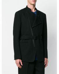 Issey Miyake - Black Asymmetric Zip Front Jacket for Men - Lyst