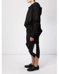 Moohong - Black Asymmetric Longline Hoodie for Men - Lyst