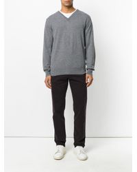 Eleventy - Gray V-neck Jumper for Men - Lyst