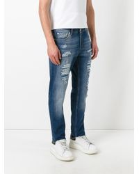 Alexander McQueen | Blue Scarf Detail Distressed Jeans for Men | Lyst
