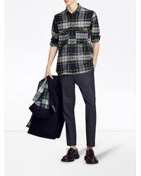 Burberry - Blue Check Tartan Shirt for Men - Lyst