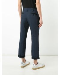 Sacai | Blue Pinstriped Crop Trousers for Men | Lyst