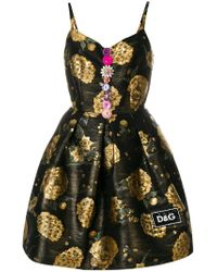Dolce & Gabbana - Black Foil Print Dress - Lyst