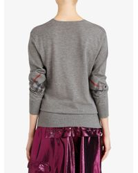 Burberry - Gray Check Elbow Patch Jumper - Lyst