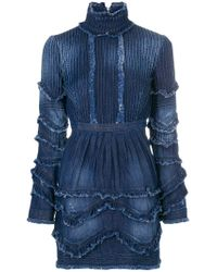DSquared² - Blue Ruffled Denim Dress - Lyst