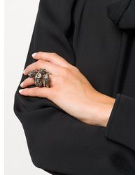 Gucci - Metallic Embellished Metal Ring - Lyst