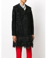 Valentino - Black Persian Lamb Fur Trim Coat - Lyst
