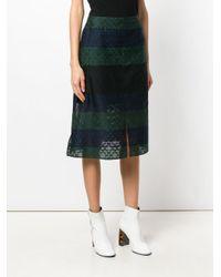 Julien David - Blue Stripe Embroidered Skirt - Lyst
