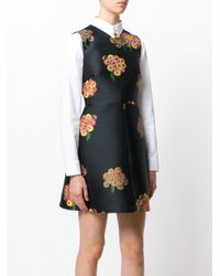 RED Valentino - Black Floral Jacquard Mini Dress - Lyst