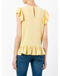 Sonia by Sonia Rykiel - Yellow Sleeveless Ruffle Top - Lyst