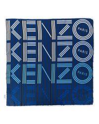 KENZO - Blue Striped Logo Scarf - Lyst