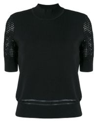 Carven - Black Knitted Crochet Sleeve Top - Lyst