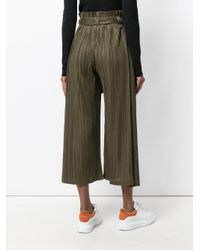 Pleats Please Issey Miyake - Green Pleated Tie Trousers - Lyst