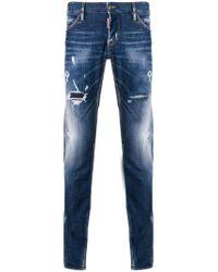 DSquared² - Blue Distressed Slim Jeans for Men - Lyst