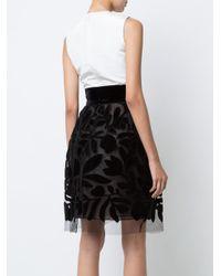 Oscar de la Renta | White Velvet-flocked Dress | Lyst