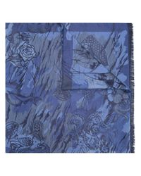 Etro Blue Printed Scarf for men