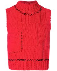 Raf Simons - Red Blow Up Gilet for Men - Lyst