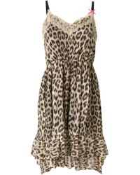 Twin Set - Brown Leopard Print Slip Dress - Lyst