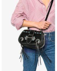 Prada - Black Folk Saddle Studded Leather Cross-body Bag - Lyst