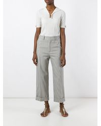 Chloé - Blue Pinstriped Cropped Trousers - Lyst