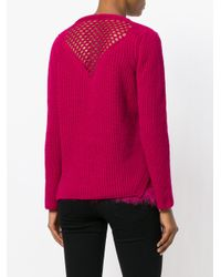 Twin Set - Pink Jumper With Faux Fur Trim - Lyst