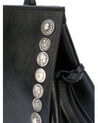 P.A.R.O.S.H. - Black Tote Bag With Button Embellished Trim - Lyst