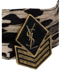 Saint Laurent - Brown Military Patch Choker Necklace - Lyst