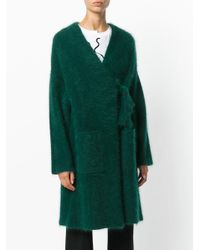 P.A.R.O.S.H. - Green Fluffy Knitted Cardigan Coat - Lyst