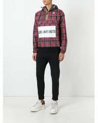 LES (ART)ISTS - Red K-way X Les (art)ists Logo Print Checked Jacket - Lyst