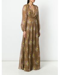 N°21 - Brown Plunge Neck Lace Back Gown - Lyst