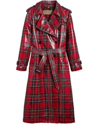 Burberry - Red Laminated Tartan Trench Coat - Lyst