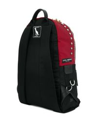 Dolce & Gabbana - Red Vulcano Dog Print And Studded Backpack for Men - Lyst