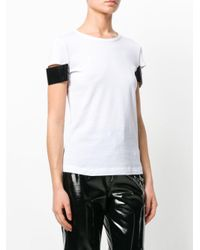 Helmut Lang - White Shiny Cuff Short Sleeve T-shirt - Lyst