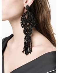Gucci - Black Crystal Embroidered Clip On Earrings - Lyst