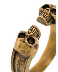 Alexander McQueen - Metallic Skull Engraved Ring for Men - Lyst
