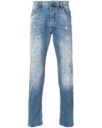 DIESEL - Blue Distressed Slim Fit Jeans for Men - Lyst