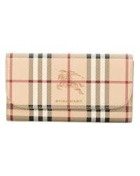 Burberry - Natural Haymarket Check Ziparound Wallet - Lyst