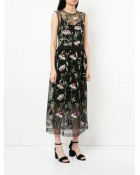 Markus Lupfer - Black Sheer Floral Print Dress - Lyst